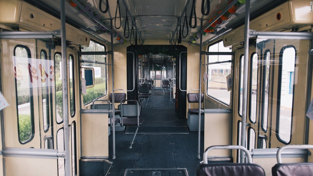 Bikes, buses, and trams were the other primary forms of transportation, Li observed. This image shows the interior of a tram.