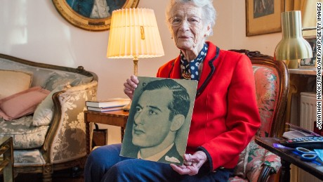 Nina Lagergren,  half-sister of Raoul Wallenberg, holds a picture of her brother in 2015.