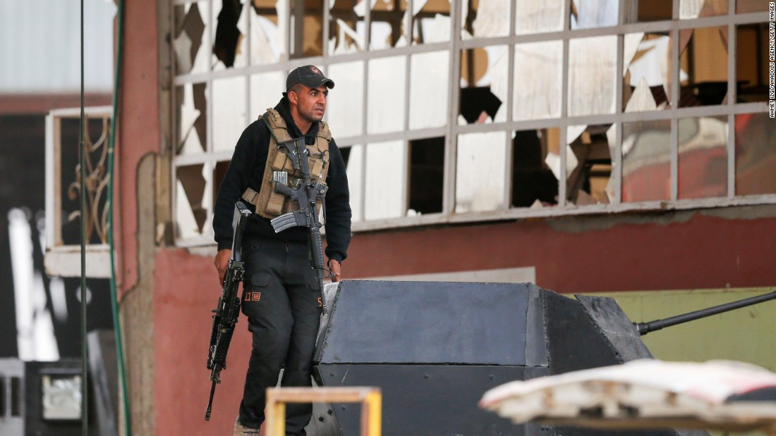An Iraqi soldier guards the Bartella front on November 1.