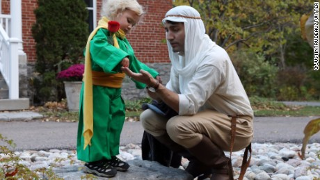 Canadian Prime Minister Justin Trudeau and his son Hadrian celebrate Halloween.