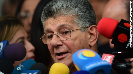 "The president of the Venezuelan National Assembly, Henry Ramos Allup, speaks with the press in Caracas on November 1, 2016. Opposition lawmakers were to stage a ""political trial"" of Venezuelan President Nicolas Maduro on Tuesday after a blocked bid to oust the deeply unpopular leader through a referendum. But the proceedings in the opposition-dominated National Assembly are largely seen as symbolic, said one analyst, Luis Vicente Leon. The Supreme Court has consistently backed Maduro in declaring decisions by the National Assembly against him to be void.  / AFP / RONALDO SCHEMIDT        (Photo credit should read RONALDO SCHEMIDT/AFP/Getty Images)"