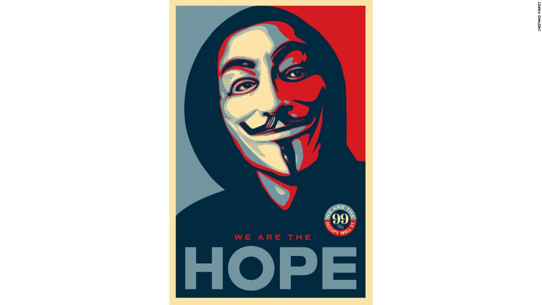 "Countless people have appropriated Fairey's ""Hope"" poster for their own political purposes, including the Occupy Wall Street protest movement, which began in September 2011."