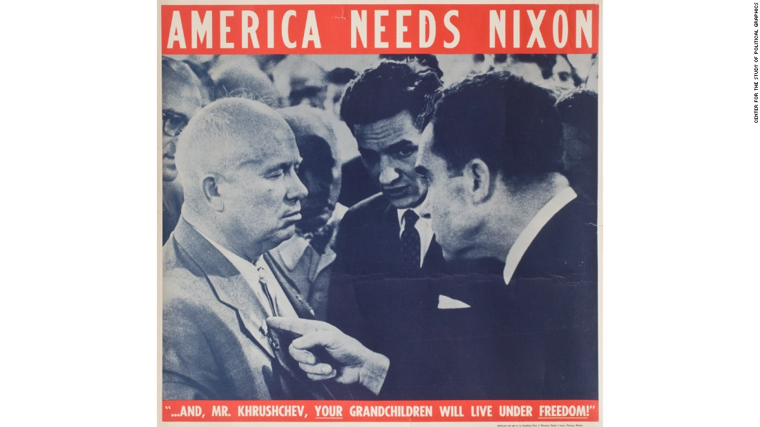 This image is of Soviet Premier Nikita Khrushchev and U.S. Vice President Richard Nixon, who engaged in an impromptu heated debate about capitalism and communism during the grand opening ceremony of the American National Exhibition in Moscow in the summer of 1959. This photo of the discussion was republished in news media across the U.S. and helped put Nixon, who appears in the photo as a hard-nosed diplomat, into the White House.