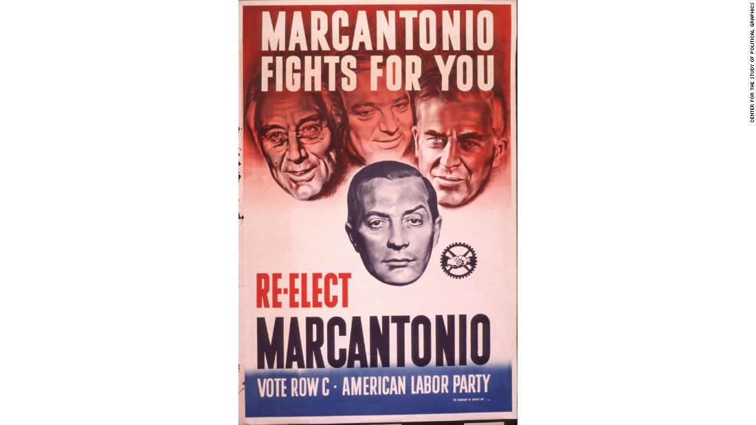 Vito Anthony Marcantonio, a democratic socialist, was elected to numerous terms in the U.S. House of Representatives from the 1930s until his defeat in the 1950 election, which was blamed on his refusal to support the Korean War. Depicted above him are U.S. President Franklin Delano Roosevelt, New York Mayor Fiorello LaGuardia and Secretary of Agriculture and later U.S. Vice President, Henry Wallace.