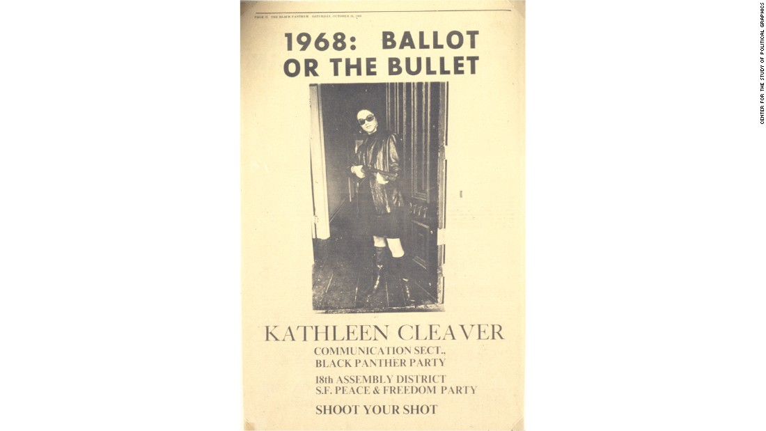 In 1968, law professor and Black Panther Party communications secretary, Kathleen Cleaver and her husband, Eldridge Cleaver, both ran for political offices on the Peace and Freedom Party ticket. She ran for California State Assembly and finished third in a four-candidate race. He ran for President.