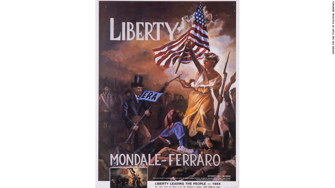 "This poster is a parody of an 1830 painting by French artist Eugène Delacroix, called ""Liberty Leading the People"", which commemorates the July 1930 revolution in France. The poster features Geraldine Ferraro, the Democratic Party's Vice Presidential nominee, and Walter Mondale, the Presidential nominee, who is running to catch up. Mondale-Ferraro lost the election and Ronald Reagan was re-elected."
