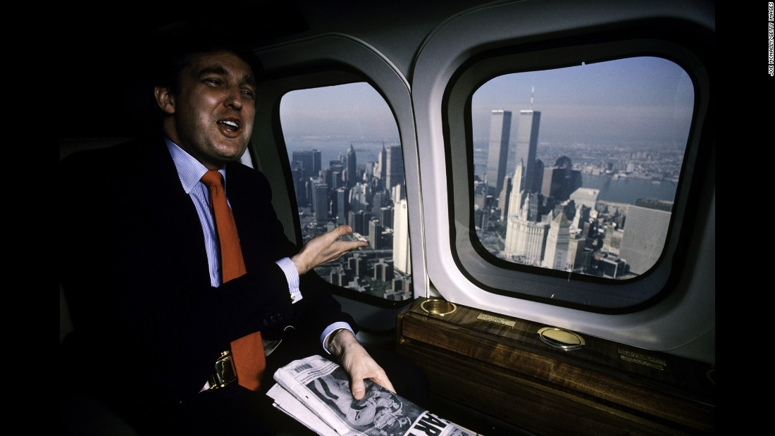 Trump uses his personal helicopter to get around New York in 1987.