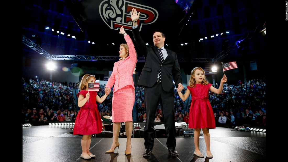"U.S. Sen. Ted Cruz, a conservative firebrand from Texas, stands on stage with his family March 25, 2015, after becoming <a href=""http://www.cnn.com/2015/03/23/politics/ted-cruz-2016-announcement/"" target=""_blank"">the first Republican to announce a presidential run.</a> Cruz, who made headlines with his staunch opposition to Obamacare and his willingness to shut down the federal government, presented a direct challenge to the expected bids of establishment Republicans such as Jeb Bush -- candidates Cruz coyly referred to as the ""mushy middle."""