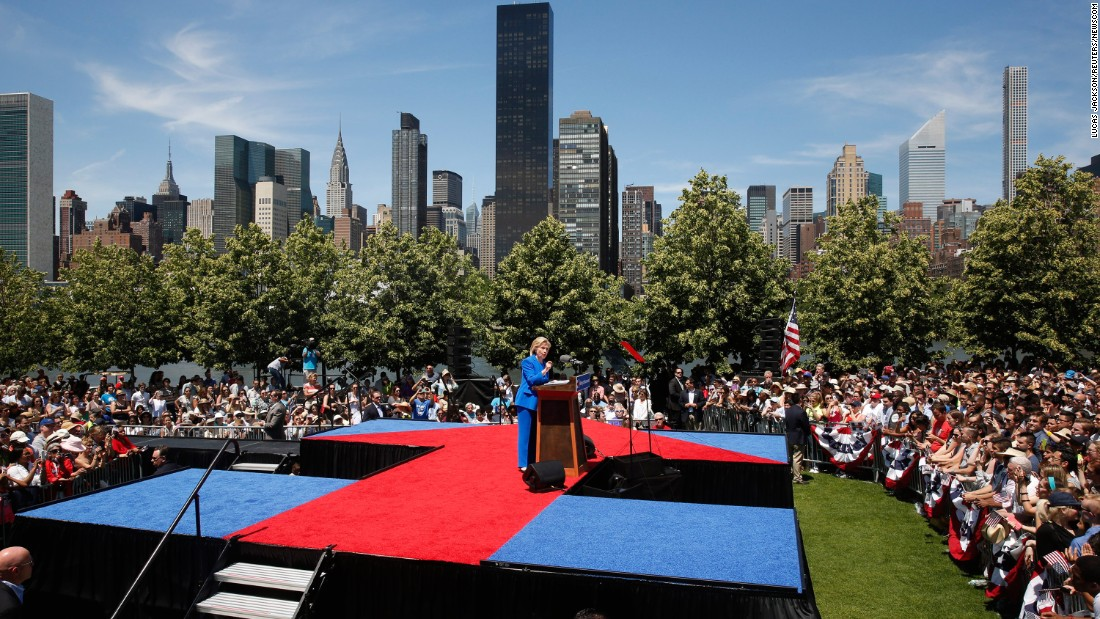 "Democratic candidate Hillary Clinton, a former first lady and secretary of state, delivers a speech at a New York City park on June 13, 2015. Clinton used <a href=""http://www.cnn.com/2015/06/13/politics/hillary-clinton-roosevelt-island-rally/"" target=""_blank"">the first major rally of her campaign</a> to make a populist case, declaring that the goal of her presidency would be to tip the nation's economic scales back toward the middle class' favor."
