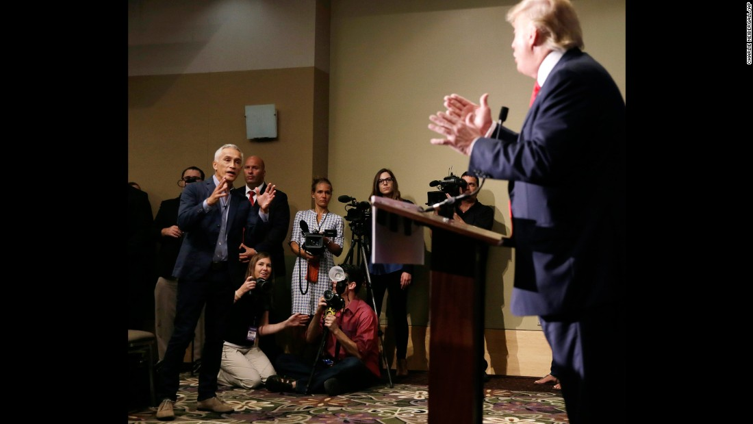 "Univision anchor Jorge Ramos, left, asks Trump a question about his immigration plan during a news conference in Dubuque, Iowa, on August 25, 2015. Ramos squabbled with Trump twice during the event, and at one point a security officer <a href=""http://www.cnn.com/2015/08/25/politics/donald-trump-megyn-kelly-iowa-rally/index.html"" target=""_blank"">ejected Ramos</a> before he was allowed back in."