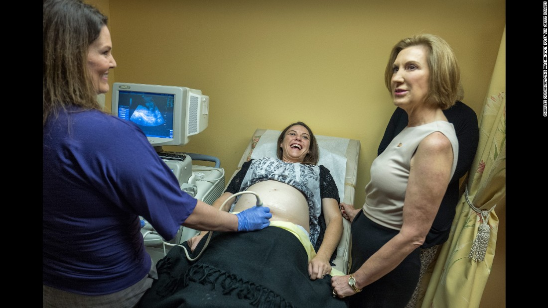"Republican presidential candidate Carly Fiorina, right, visits a pregnancy center in Spartanburg, South Carolina, on September 24, 2015. Fiorina <a href=""http://www.cnn.com/2015/09/24/politics/carly-fiorina-planned-parenthood-pregnancy-center/"" target=""_blank"">continued her attacks against Planned Parenthood, </a>which was under fire because of a series of secretly taped, edited videos accusing it of breaking federal laws by profiting off the sale of organs and tissues of aborted fetuses. Planned Parenthood denied it had broken any laws."