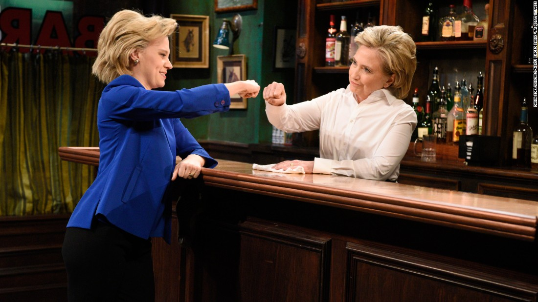 "Clinton, right, appears on an episode of ""Saturday Night Live"" opposite Kate McKinnon, who has been playing Clinton during the campaign, on October 3, 2015."
