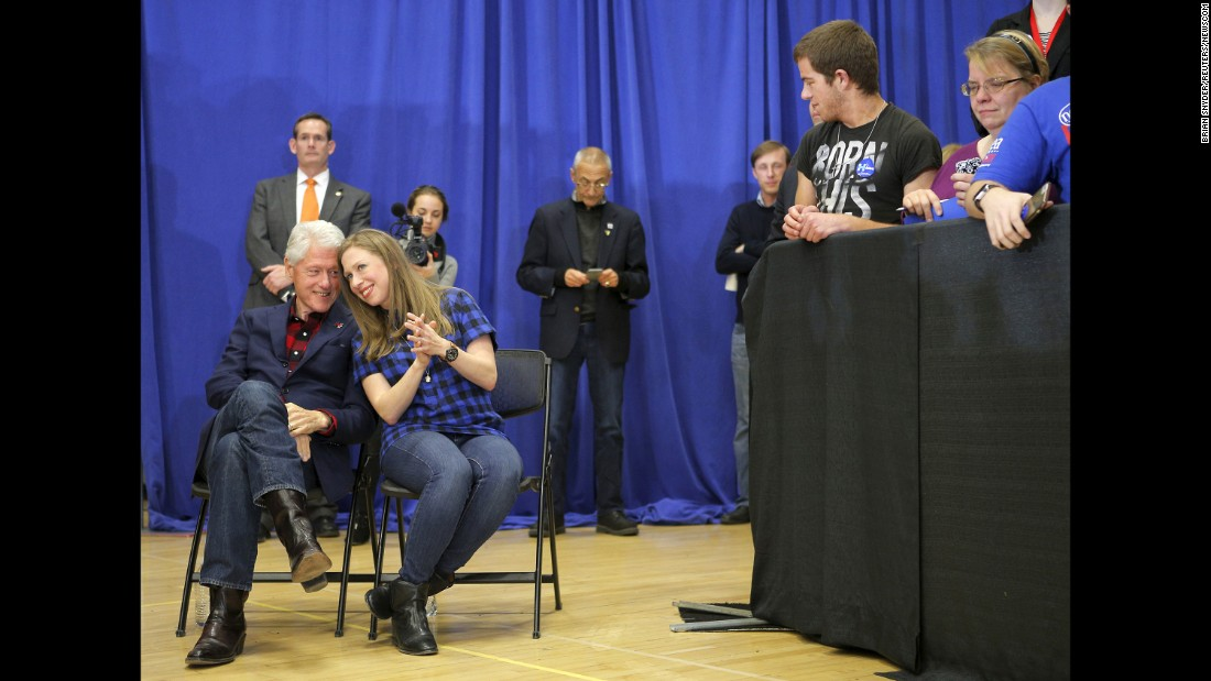 "Former U.S. President Bill Clinton and his daughter, Chelsea, listen to Hillary Clinton speak in Cedar Rapids, Iowa, on January 30, 2016. Clinton <a href=""http://www.cnn.com/2016/02/01/politics/iowa-caucuses-2016-highlights/"" target=""_blank"">went on to win the Iowa caucuses</a> by a razor-thin margin, edging Sanders by a few percentage points. Cruz won on the GOP side."
