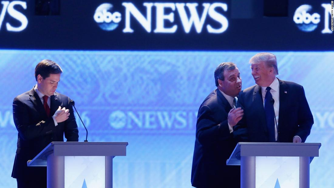"Trump and Christie talk to each other during a commercial break at the Republican debate in Manchester, New Hampshire, on February 6, 2016. At left is U.S. Sen. Marco Rubio. Trump <a href=""http://www.cnn.com/2016/02/09/politics/new-hampshire-primary-highlights/"" target=""_blank"">won the New Hampshire primary</a> on February 9 -- his first victory on the way to the nomination."