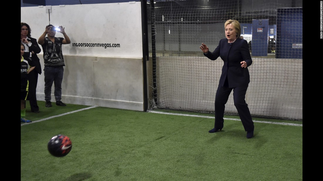 Clinton plays goalie during a campaign stop at an indoor-soccer center in Las Vegas on February 13, 2016. After her loss in New Hampshire, Clinton rebounded to win the Nevada primary on February 20.