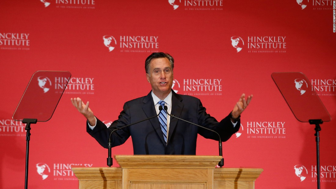 "Former Massachusetts Gov. Mitt Romney gives a speech about the state of the Republican Party during a forum at the University of Utah on March 3, 2016. Romney <a href=""http://www.cnn.com/2016/03/03/politics/mitt-romney-presidential-race-speech/index.html"" target=""_blank"">went after Trump, </a>calling the GOP front-runner a phony and a fraud. Trump hit back by mocking Romney's loss in the 2012 presidential election and saying that Romney back then ""was begging for my endorsement."""