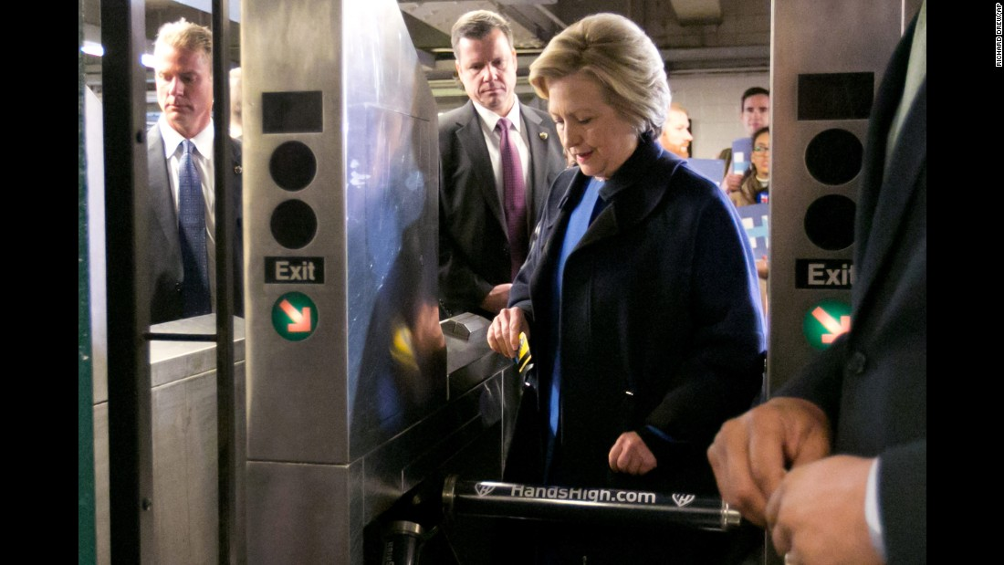 "Clinton swipes a MetroCard to ride the subway in New York on April 7, 2016. The sight of her riding the rails <a href=""http://www.cnn.com/2016/04/07/politics/hillary-clinton-subway/"" target=""_blank"">looked out of place</a> for a candidate more used to riding in a Secret Service-protected van and private plane."