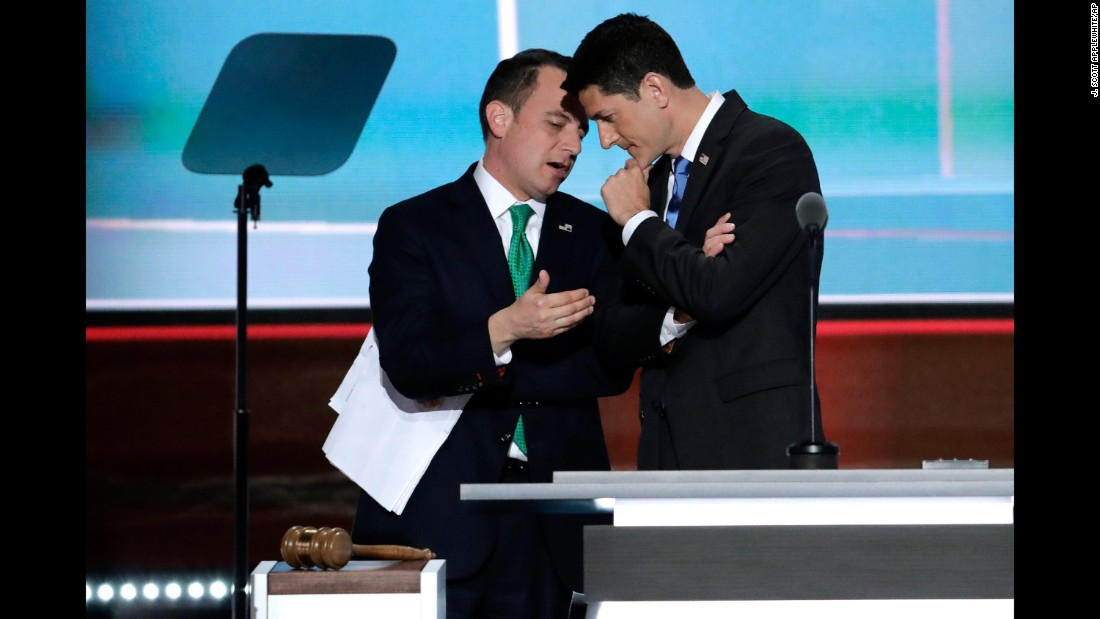 "House Speaker Paul Ryan, right, talks with Reince Priebus, the chairman of the Republican National Committee, as Priebus <a href=""http://www.cnn.com/2016/07/19/politics/alaska-delegates-donald-trump/index.html"" target=""_blank"">explains Alaska's votes</a> on the second day of the Republican National Convention. Trump shared Alaska's delegates after the state's caucuses on March 1, but a little-known rule allowed him to receive all of them at the convention."