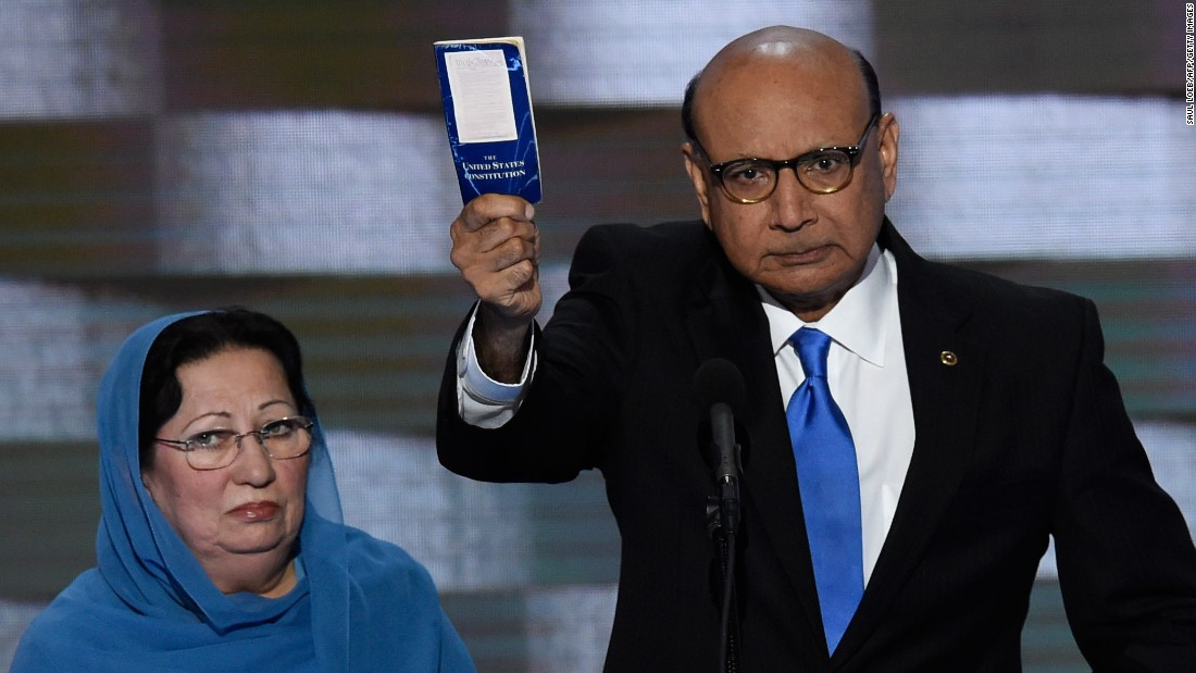 "Khizr Khan<a href=""http://www.cnn.com/2016/07/29/politics/muslims-moment-khan/index.html"" target=""_blank""> holds his personal copy of the U.S. Constitution</a> as he speaks at the Democratic National Convention on July 28, 2016. Khan's son, U.S. Army Capt. Humayun Khan, was killed in 2004 while serving in Afghanistan. ""If it was up to Donald Trump,"" Khan said, ""(my son) never would have been in America. ... Donald Trump, you are asking Americans to trust you with our future. Let me ask you: Have you even read the U.S. Constitution? I will gladly lend you my copy."""