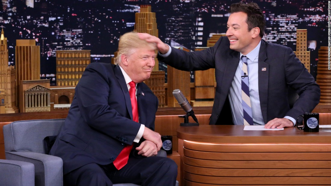 "Talk-show host Jimmy Fallon <a href=""http://www.cnn.com/2016/09/15/politics/donald-trump-jimmy-fallon-tonight-show/"" target=""_blank"">musses Trump's hair</a> during an episode of ""The Tonight Show"" in New York on September 15, 2016."