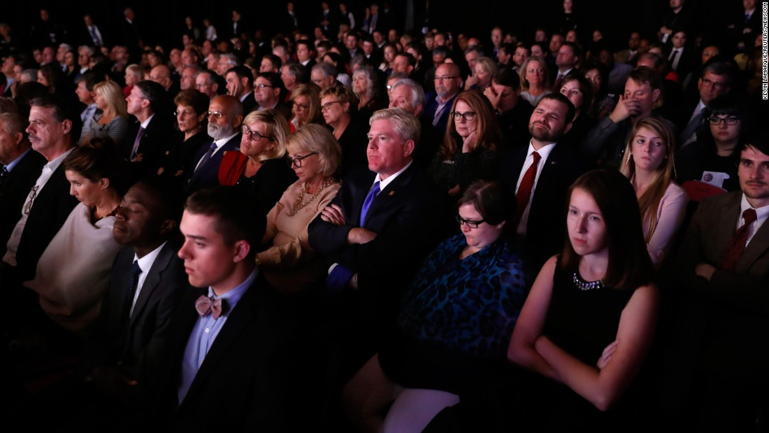"Audience members watch <a href=""http://www.cnn.com/2016/10/04/politics/gallery/vice-presidential-debate/index.html"" target=""_blank"">the vice presidential debate</a> in Farmville, Virginia, on October 4, 2016."