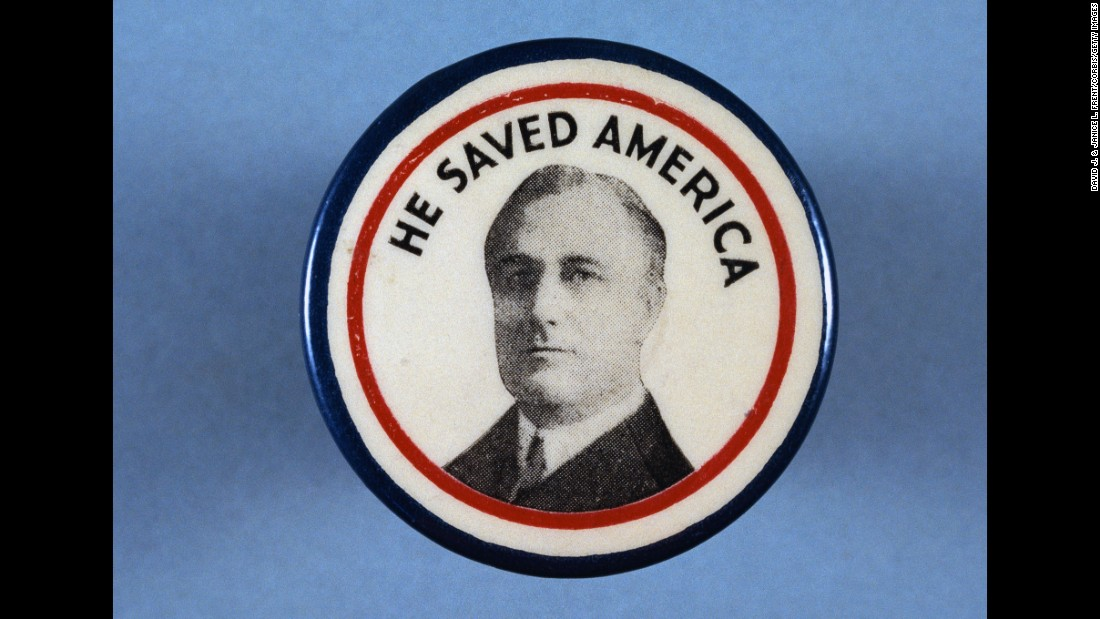 During his first term, Franklin D. Roosevelt mitigated the disastrous effects of the Great Depression with a series of programs and reforms collectively known as the New Deal. In 1936 -- the campaign this button was from -- Roosevelt defeated Alf Landon in a landslide. Roosevelt was also re-elected in 1940 and 1944.