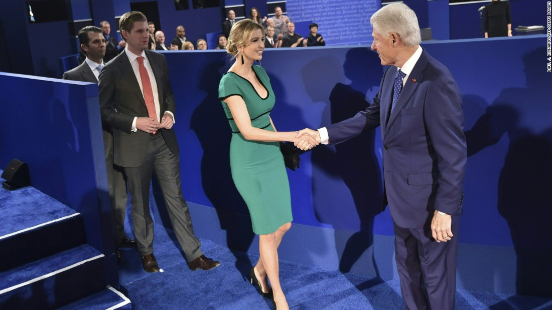 Bill Clinton shakes hands with Ivanka Trump before the second presidential debate.