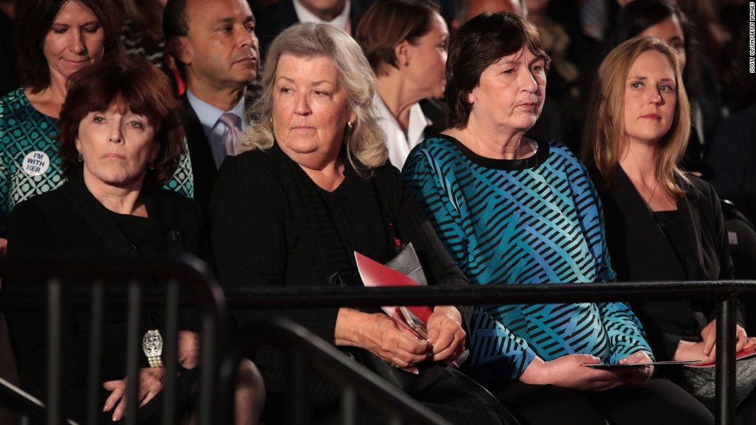 "Among those attending the second debate were, from left, Kathleen Willey, Juanita Broaddrick and Kathy Shelton. Less than two hours before the debate, those three -- along with Paula Jones -- <a href=""http://www.cnn.com/2016/10/09/politics/donald-trump-juanita-broaddrick-paula-jones-facebook-live-2016-election/index.html"" target=""_blank"">appeared in a Trump news conference</a> to speak out against the Clintons. Willey, Broaddrick and Jones have previously accused Bill Clinton of inappropriate sexual behavior. Shelton's rapist was defended by Hillary Clinton as a young lawyer. That man was convicted of a lesser charge and served 10 months in jail."