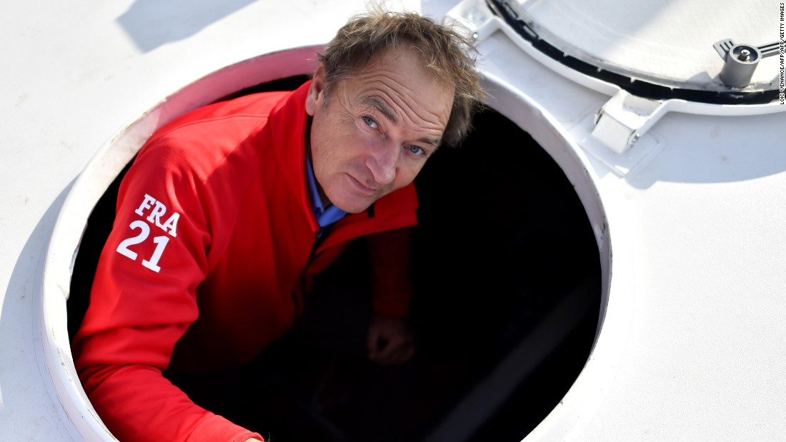 French skipper Bertrand de Broc on board his Imoca class monohull MACSF ahead of his fourth attempt at the Vendee Globe race. He was ninth in 2013 -- his only finish.