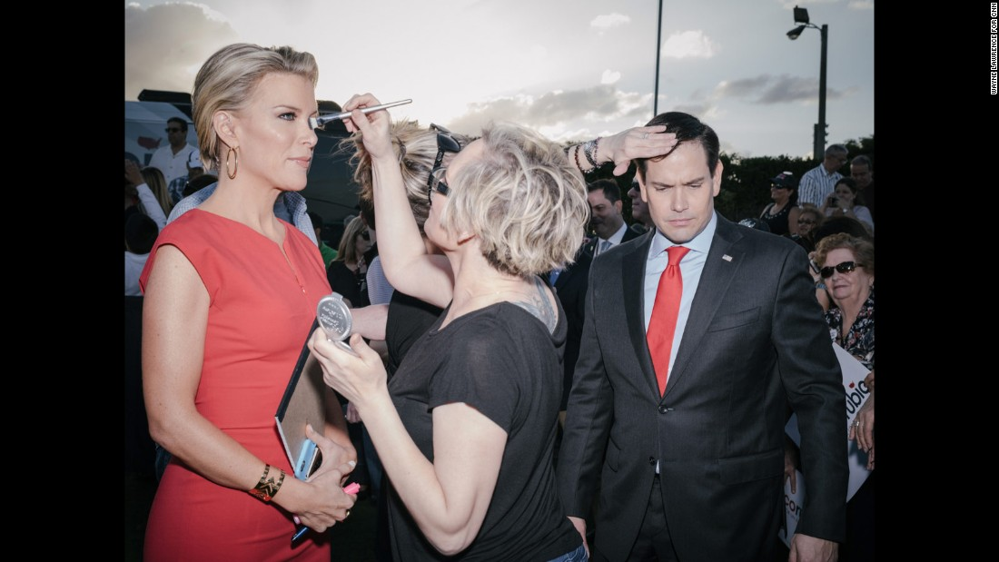 "Rubio and Fox News anchor Megyn Kelly are touched up before an interview in Hialeah, Florida, on March 9, 2016. Rubio <a href=""http://www.cnn.com/2016/03/15/politics/marco-rubio-drops-out/"" target=""_blank"">dropped out of the race</a> a week later after losing in his home state."
