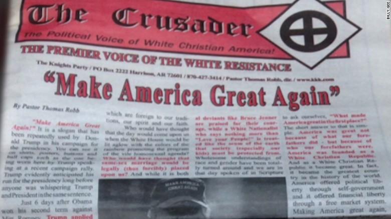 Trump campaign denounces KKK newspaper endorsement