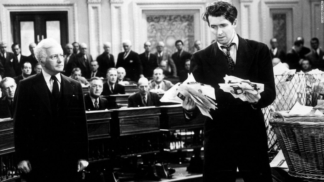 "James Stewart stars as a a new politician who takes on corruption in the now classic <strong>""Mr. Smith Goes to Washington."" </strong>"