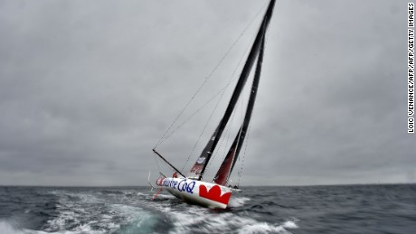 French skipper Jeremie Beyou tests his yacht Maitre Coq off Lorient, western France.