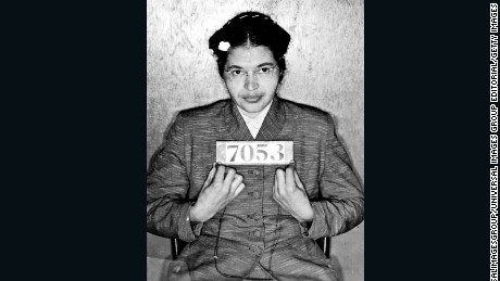 Booking photo taken at the time of Rosa Parks' arrest for refusing to give up her seat on a Montgomery, Alabama, bus to a white passenger on 1 December 1955.