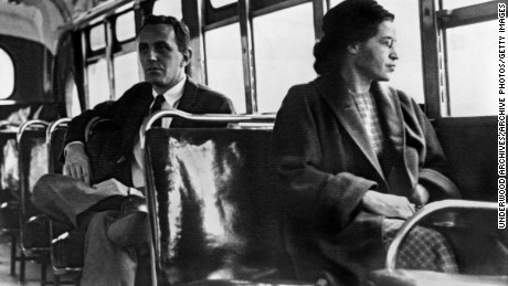 Rosa Parks seated toward the front of the bus, Montgomery, Alabama, 1956.