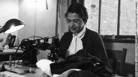 Rosa Parks at work as a seamstress, shortly after the beginning of the Montgomery bus boycott, Montgomery, Alabama, February 1956.