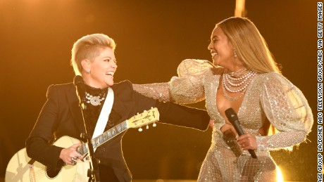 THE 50th ANNUAL CMA AWARDS - The 50th Annual CMA Awards, hosted by Brad Paisley and Carrie Underwood, broadcasts live from the Bridgestone Arena in Nashville, Wednesday, November 2 (8:00-11:00 p.m. EDT), on the ABC Television Network. (Image Group LA/ABC via Getty Images) NATALIE MAINES, BEYONCE
