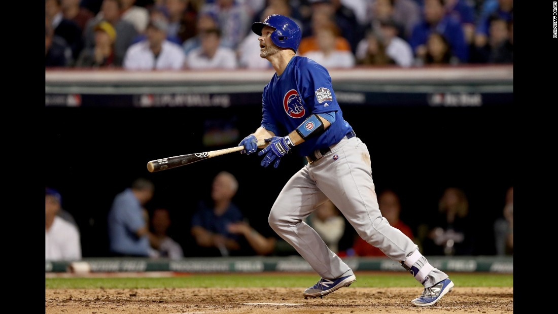 David Ross of the Cubs reacts after hitting a solo home run during the sixth inning in Game 7.