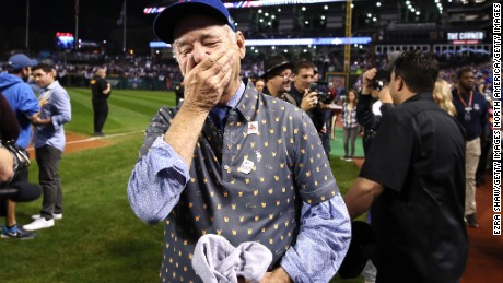 Bill Murray reacts on the field after the Chicago Cubs defeated the Cleveland Indians to win the World Series.