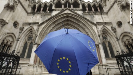 Brexit challenge. File photo dated 13/10/16 of a person under an umbrella carrying the EU flag outside the High Court in London, as leading judges with the task of ruling on the historic Brexit legal challenge at the High Court are to give their decision on Thursday. Issue date: Wednesday November 2, 2016. The announcement will be made at 10am in London by Lord Chief Justice Lord Thomas, Master of the Rolls Sir Terence Etherton and Lord Justice Sales. See PA story COURTS Brexit. Photo credit should read: Yui Mok/PA Wire URN:29071374