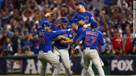 CLEVELAND, OH - NOVEMBER 2: Members of the Chicago Cubs celebrate defeating the Cleveland Indians in Game 7 of the 2016 World Series at Progressive Field on Wednesday, November 2, 2016 in Cleveland, Ohio.(Photo by Rob Tringali/MLB Photos via Getty Images)
