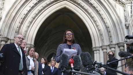 Business woman Gina Miller, one of the claimants who challenged plans for Brexit, speaks to the media outside the High Court in London, Thursday Nov. 3, 2016. In a major blow for Britain's government, the High Court ruled Thursday that the prime minister can't trigger the U.K.'s exit from the European Union without approval from Parliament. (AP Photo/Tim Ireland)
