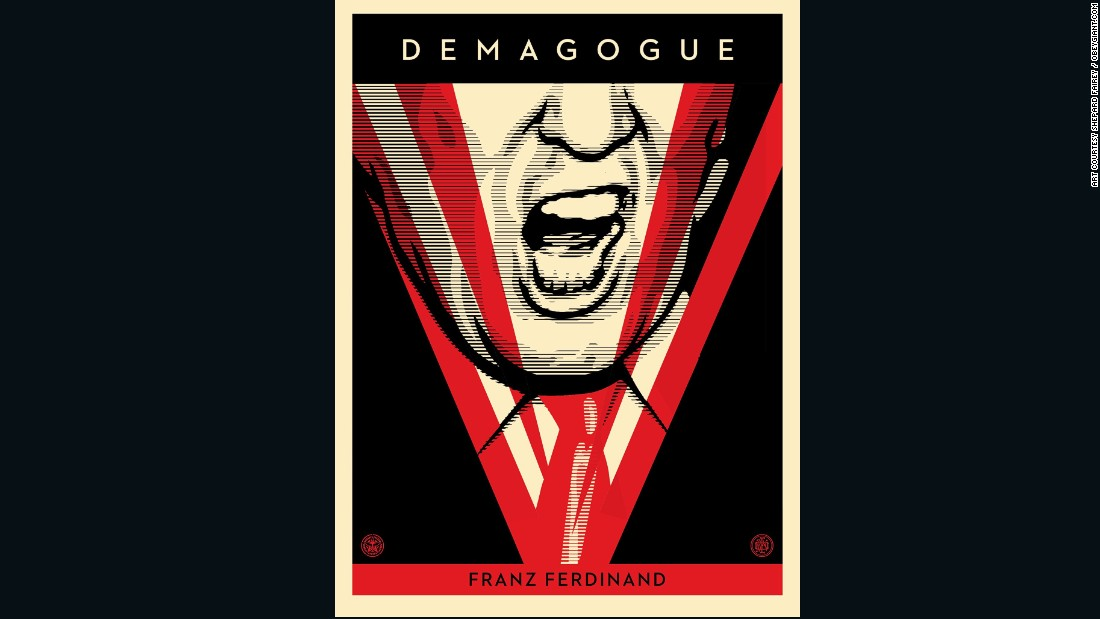 "Shepard Fairey's image of Donald Trump is inspired by George Orwell's 1984. ""The idea (is) of an all powerful Big Brother that is more or less dictating how people are living their lives because they are fearful and they feel watched all the time,"" explains Fairey."