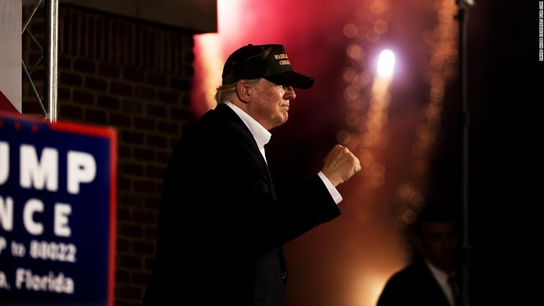 Trump gestures in Pensacola on November 2.