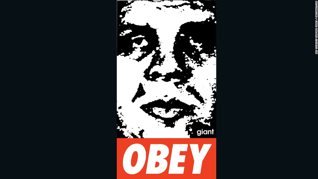 "This is one of Fairey's earliest works.  ""My Obey campaign was about putting things on the street that you normally wouldn't encounter,"" Fairey told CNN.  ""Something that's an alternative to advertising or government signage."""