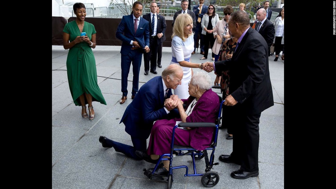 "Biden <a href=""https://www.instagram.com/p/BKwLJycDmd2/?hl=en"" target=""_blank"">greets Ruth Bonner,</a> a 99-year-old daughter of a young slave who escaped to freedom, as he and his wife attend the September 2016 opening of the Smithsonian National Museum of African American History and Culture."