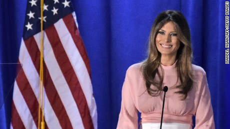 Melania Trump, the wife of Republican presidential nominee Donald Trump, speaks during a rally for her husband on November 3, 2016 at the Main Line Sports Center in Berwyn, Pennsylvania.
