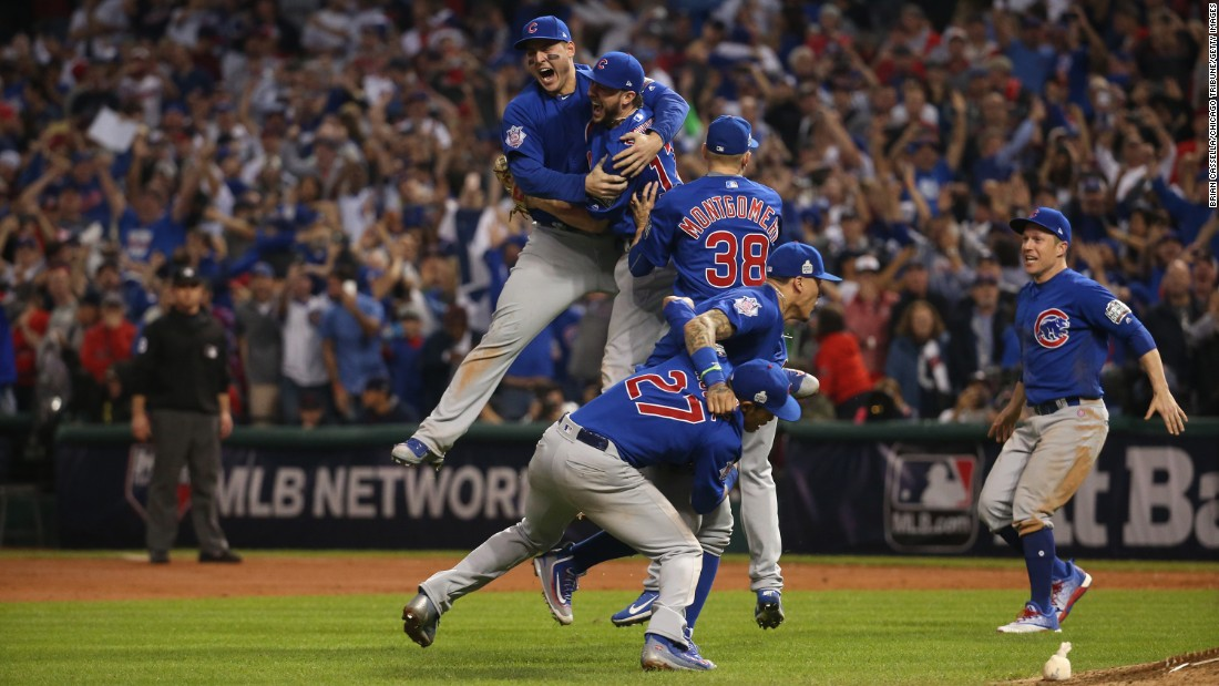 "The Chicago Cubs celebrate after winning Game 7 of the World Series on Thursday, November 3. The Cubs <a href=""http://www.cnn.com/2016/11/02/sport/world-series-game-7-chicago-cubs-cleveland-indians/"" target=""_blank"">defeated the Cleveland Indians in 10 innings</a> to end the longest championship drought in major U.S. sports. The Cubs hadn't won the World Series since 1908."