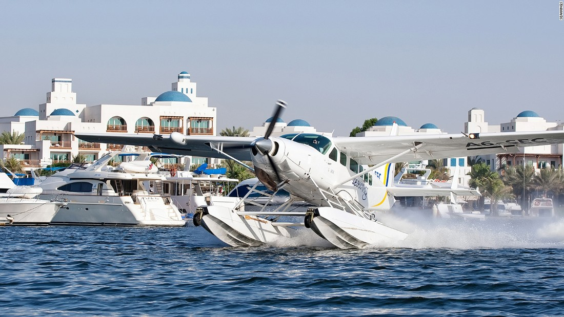 Seawings offer a 50-minute seaplane trip from Abu Dhabi to the protected island of Sir Bani Yas, providing views of the Arabian Gulf alongside the privacy of a small flight.