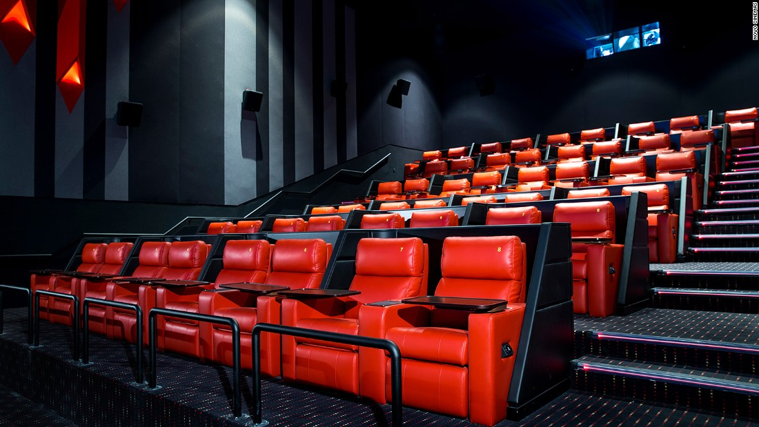 "Novo Cinema offers a ""seven star"" ticket that includes massive reclining chairs, blankets, pillows and an in-theater dining menu. To fully reinvent the idea of ""dinner and a movie,"" Vox Cinemas' Theatre by Rhodes features food by Michelin-starred chef Gary Rhodes. <br />"
